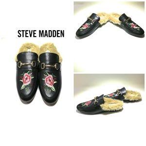 Steve Madden Jill-P Black Embroidered Loafer Slide